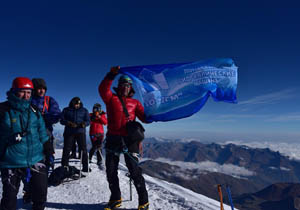 Ardent greetings from the top of Mount Kazbek!